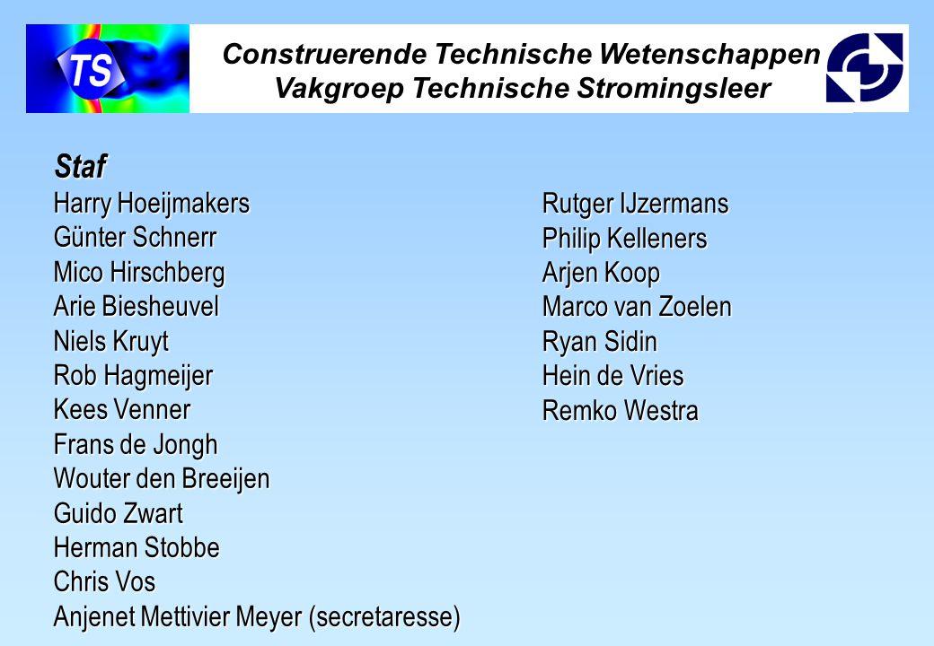 Construerende Technische Wetenschappen Vakgroep Technische Stromingsleer Staf Harry Hoeijmakers Günter Schnerr Mico Hirschberg Arie Biesheuvel Niels K