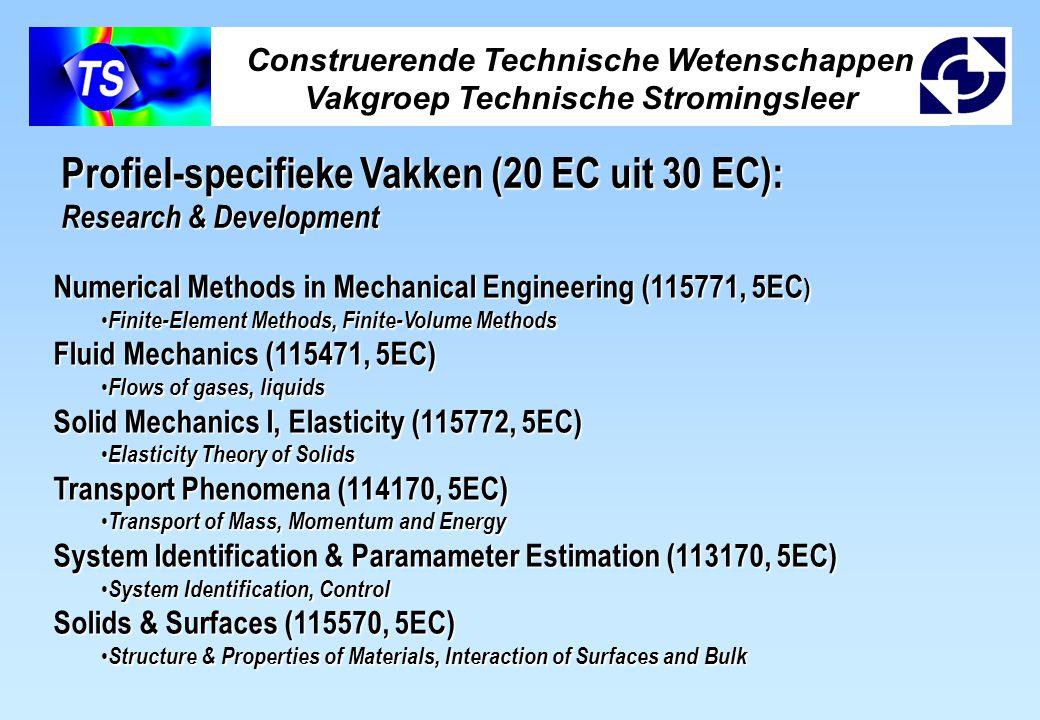 Construerende Technische Wetenschappen Vakgroep Technische Stromingsleer Profiel-specifieke Vakken (20 EC uit 30 EC): Research & Development Numerical