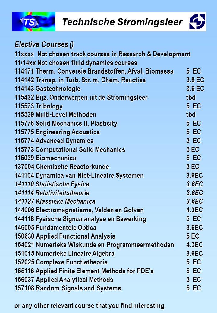 Technische Stromingsleer Elective Courses () 11xxxx Not chosen track courses in Research & Development 11/14xx Not chosen fluid dynamics courses 11417