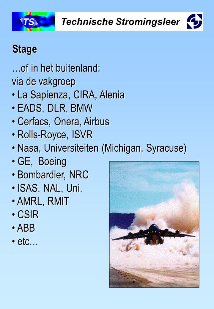 Technische Stromingsleer Stage …of in het buitenland: via de vakgroep La Sapienza, CIRA, Alenia La Sapienza, CIRA, Alenia EADS, DLR, BMW EADS, DLR, BM