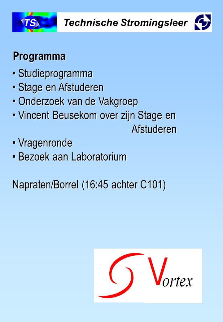 Technische Stromingsleer Programma Studieprogramma Studieprogramma Stage en Afstuderen Stage en Afstuderen Onderzoek van de Vakgroep Onderzoek van de