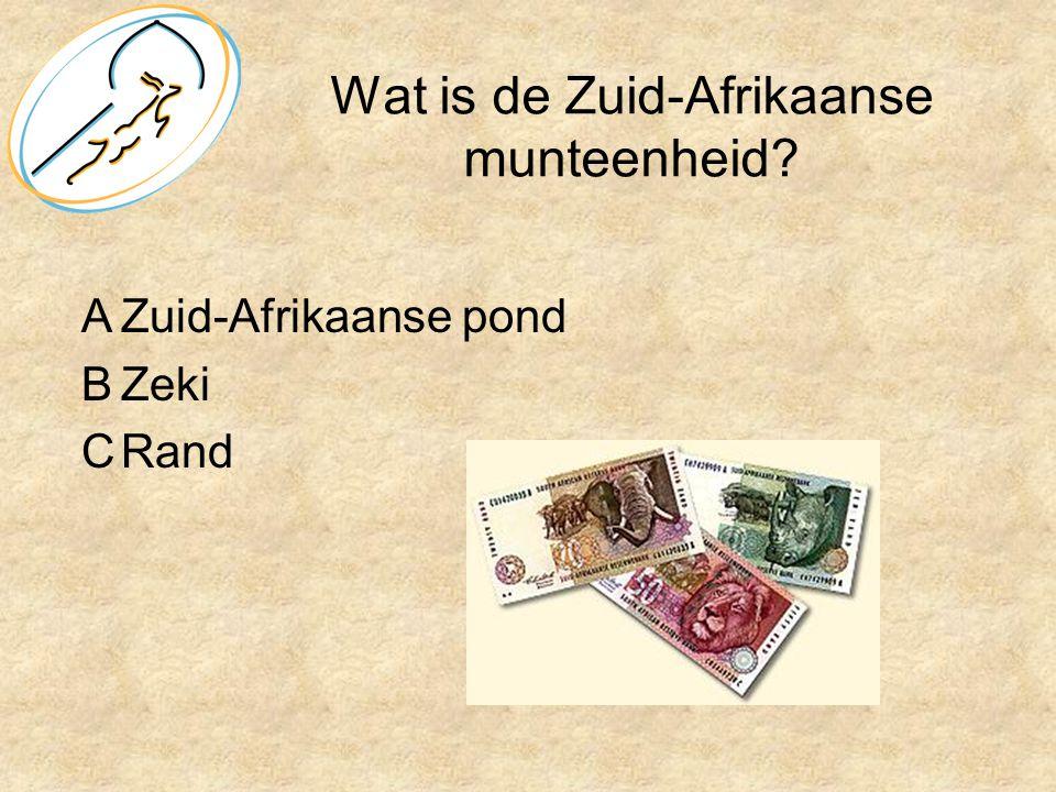 Wat is de Zuid-Afrikaanse munteenheid? AZuid-Afrikaanse pond BZeki CRand