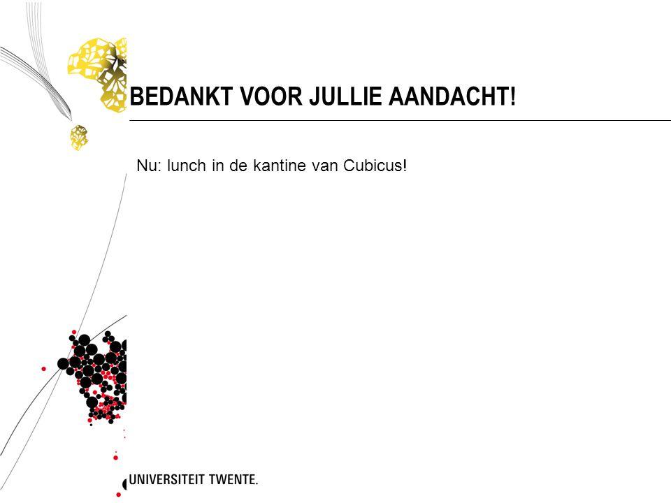 BEDANKT VOOR JULLIE AANDACHT! Nu: lunch in de kantine van Cubicus!