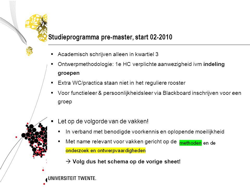 Studieprogramma pre-master, start 02-2010  Academisch schrijven alleen in kwartiel 3  Ontwerpmethodologie: 1e HC verplichte aanwezigheid ivm indelin