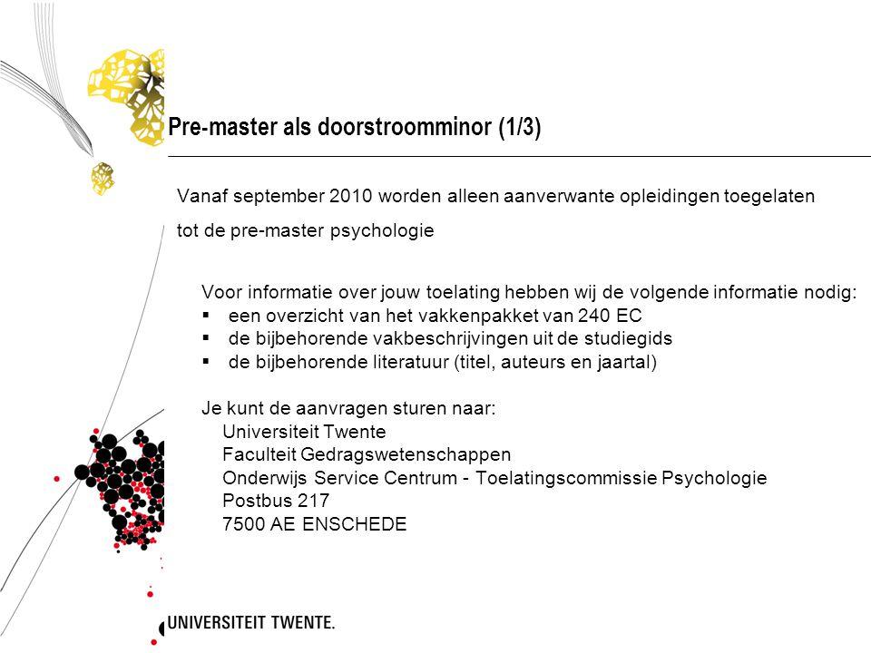 Onderwijsondersteuning  Informatievoorziening E-mail (studentenmail!) Postvakjes Onderwijsmededelingen: blackboard, prikbord kantine & studentportal vanaf 01-03-2010 Website Psychologie (www.psy.utwente.nl)www.psy.utwente.nl