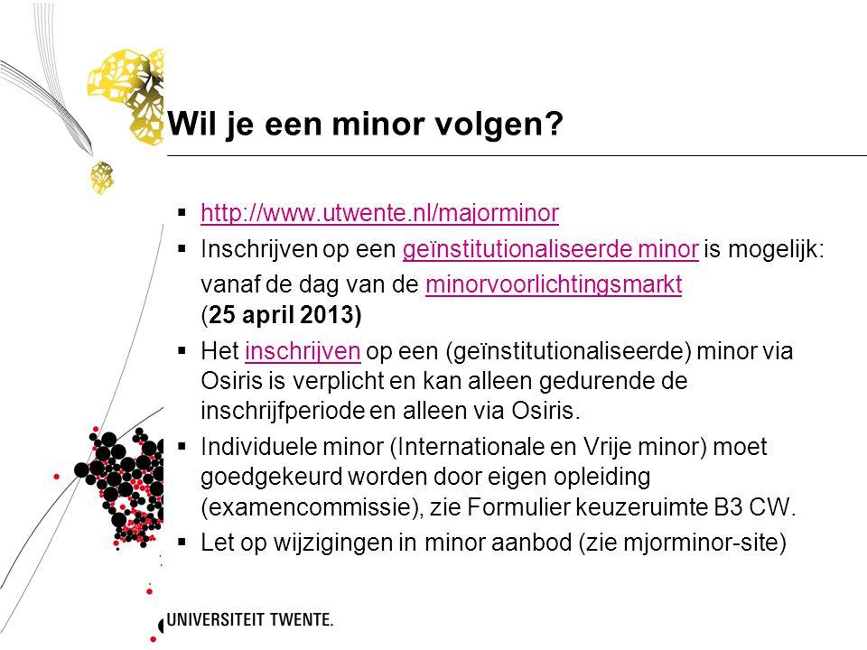 Wil je een minor volgen?  http://www.utwente.nl/majorminor http://www.utwente.nl/majorminor  Inschrijven op een geïnstitutionaliseerde minor is moge