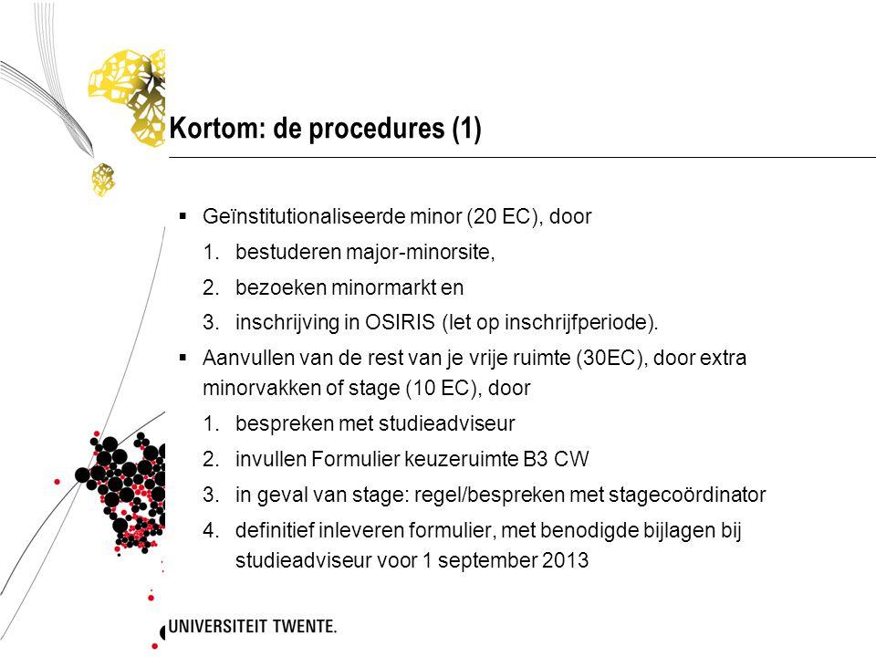Kortom: de procedures (1)  Geïnstitutionaliseerde minor (20 EC), door 1.bestuderen major-minorsite, 2.bezoeken minormarkt en 3.inschrijving in OSIRIS