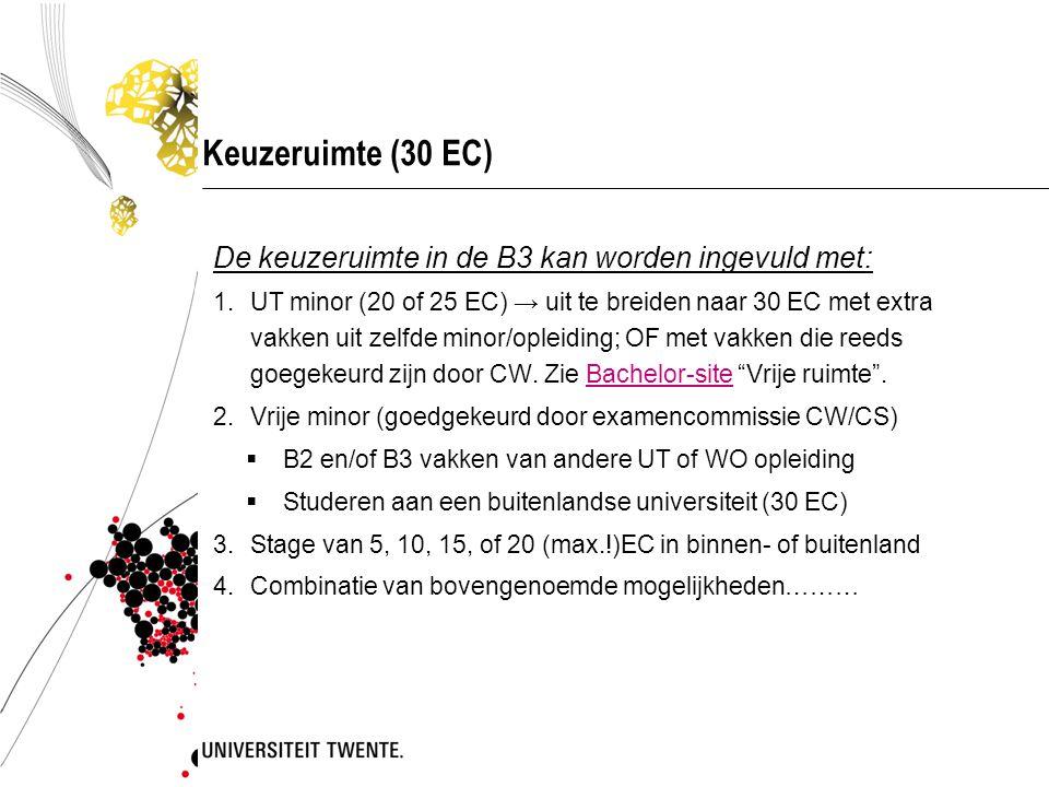 Keuzeruimte (30 EC) De keuzeruimte in de B3 kan worden ingevuld met: 1.UT minor (20 of 25 EC) → uit te breiden naar 30 EC met extra vakken uit zelfde