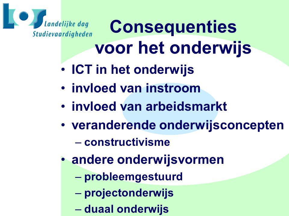 Consequenties voor het onderwijs ICT in het onderwijs invloed van instroom invloed van arbeidsmarkt veranderende onderwijsconcepten –constructivisme andere onderwijsvormen –probleemgestuurd –projectonderwijs –duaal onderwijs