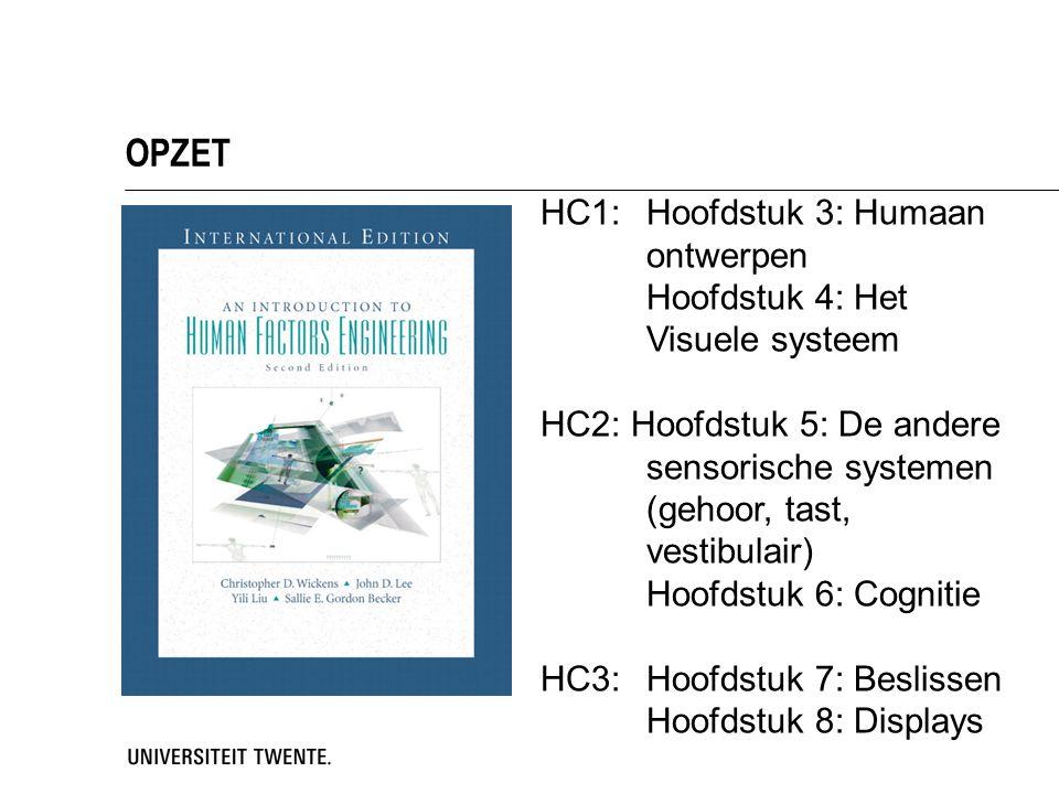 OPZET HC1: Hoofdstuk 3: Humaan ontwerpen Hoofdstuk 4: Het Visuele systeem HC2: Hoofdstuk 5: De andere sensorische systemen (gehoor, tast, vestibulair)