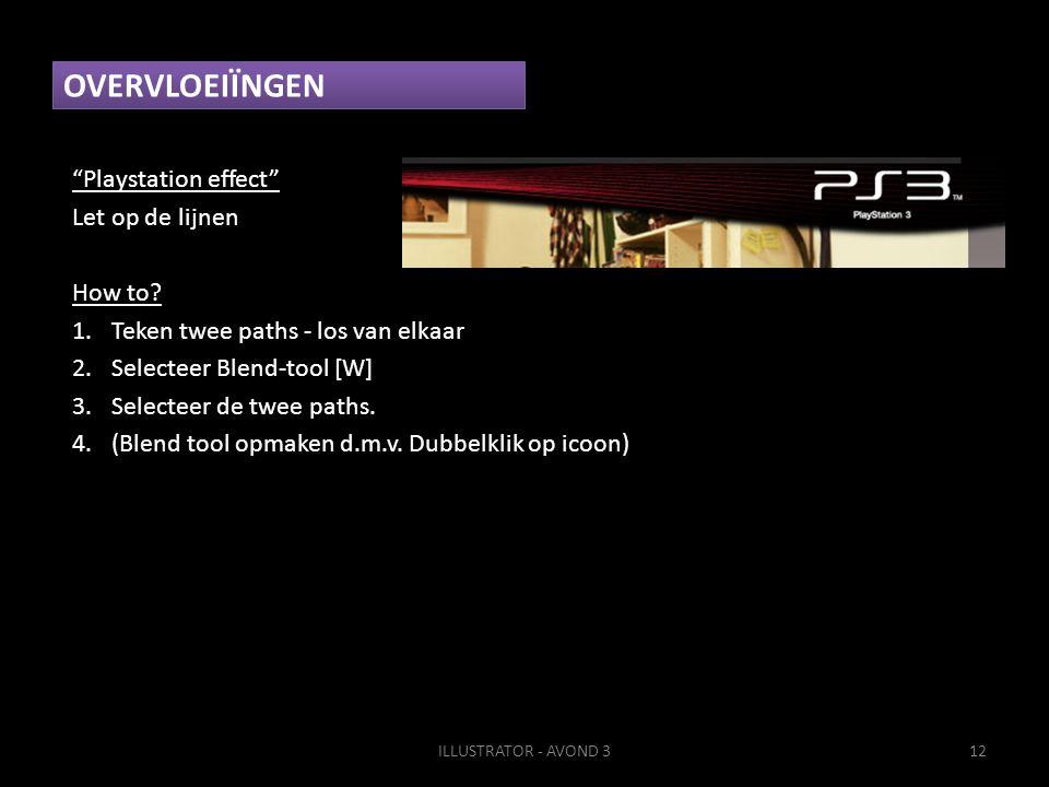"""OVERVLOEIÏNGEN """"Playstation effect"""" Let op de lijnen How to? 1.Teken twee paths - los van elkaar 2.Selecteer Blend-tool [W] 3.Selecteer de twee paths."""
