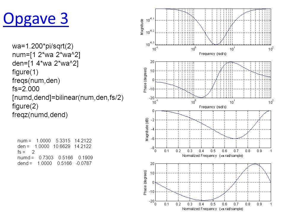 Opgave 3 wa=1.200*pi/sqrt(2) num=[1 2*wa 2*wa^2] den=[1 4*wa 2*wa^2] figure(1) freqs(num,den) fs=2.000 [numd,dend]=bilinear(num,den,fs/2) figure(2) freqz(numd,dend) num = 1.0000 5.3315 14.2122 den = 1.0000 10.6629 14.2122 fs = 2 numd = 0.7303 0.5166 0.1909 dend = 1.0000 0.5166 -0.0787