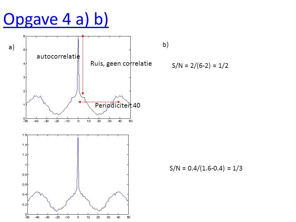 Opgave 4c Shift = 10 kruiscorrelatie Ja, er is een relatie, verschil in fase van 10 (op periodiciteit van 40)