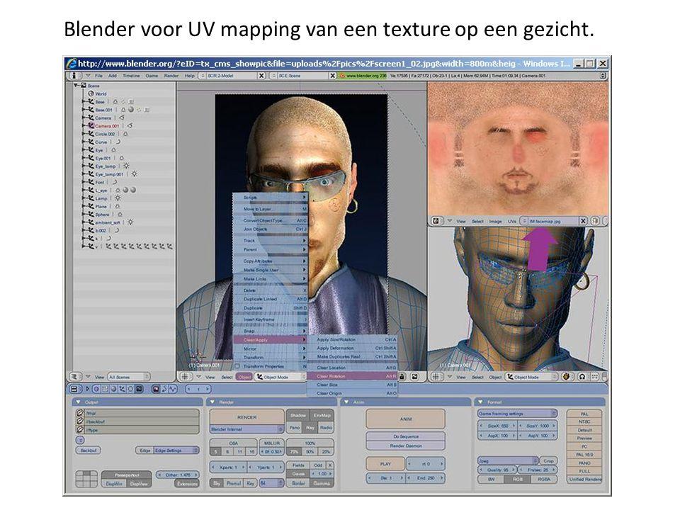 Blender voor UV mapping van een texture op een gezicht.