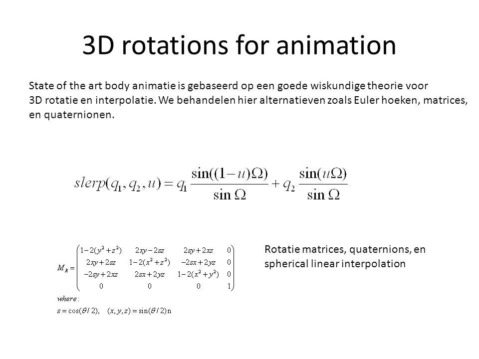3D rotations for animation State of the art body animatie is gebaseerd op een goede wiskundige theorie voor 3D rotatie en interpolatie. We behandelen