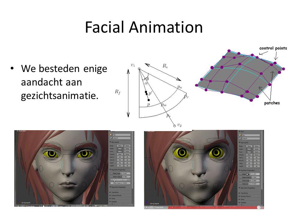 Facial Animation We besteden enige aandacht aan gezichtsanimatie.