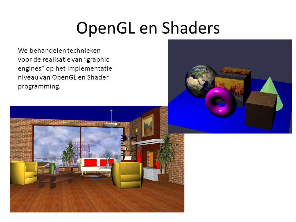 """OpenGL en Shaders We behandelen technieken voor de realisatie van """"graphic engines"""" op het implementatie niveau van OpenGL en Shader programming."""