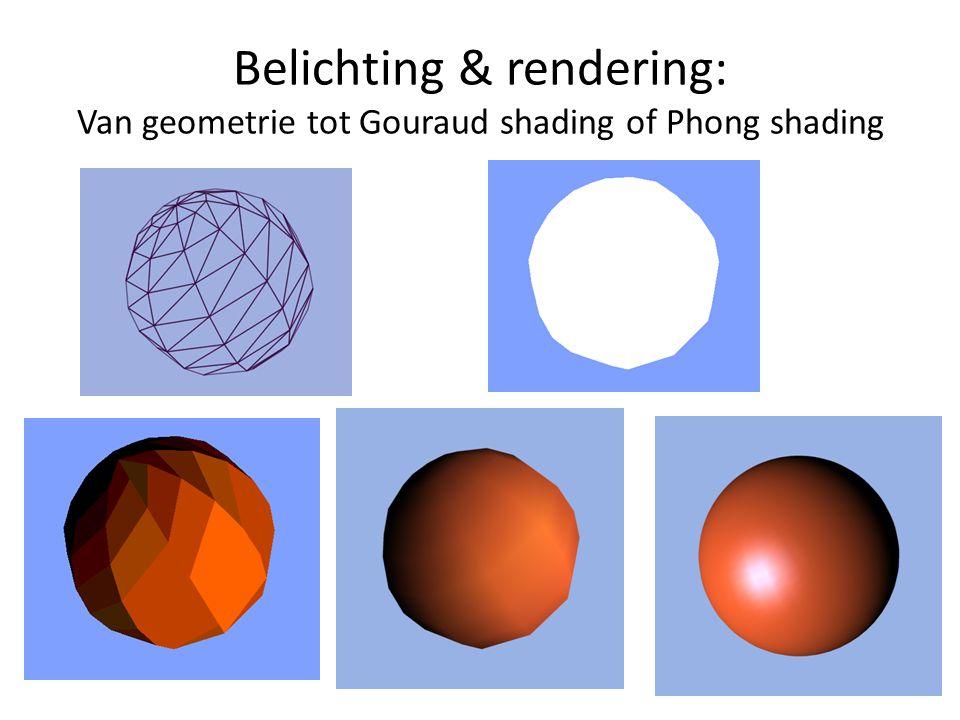 Voorbeeld: Phong shading We kijken naar materialen en belichting in modeling tools, maar ook naar de bijbehorende wiskunde
