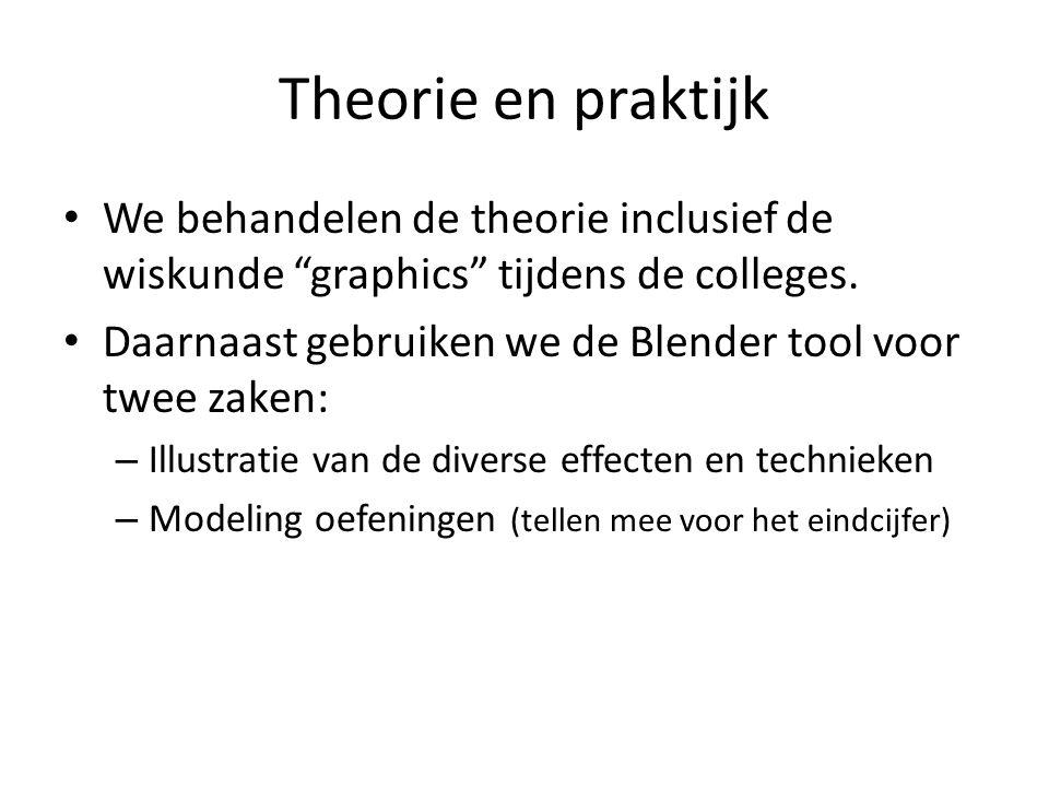 """Theorie en praktijk We behandelen de theorie inclusief de wiskunde """"graphics"""" tijdens de colleges. Daarnaast gebruiken we de Blender tool voor twee za"""