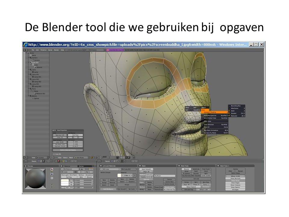 De Blender tool die we gebruiken bij opgaven