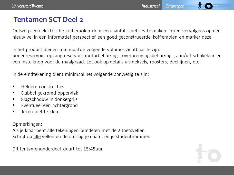 Industrieel OntwerpenUniversiteit Twente Tentamen SCT Deel 2 Inspiratie Opmerkingen: Als je klaar bent alle tekeningen bundelen met de 2 toetsvellen.