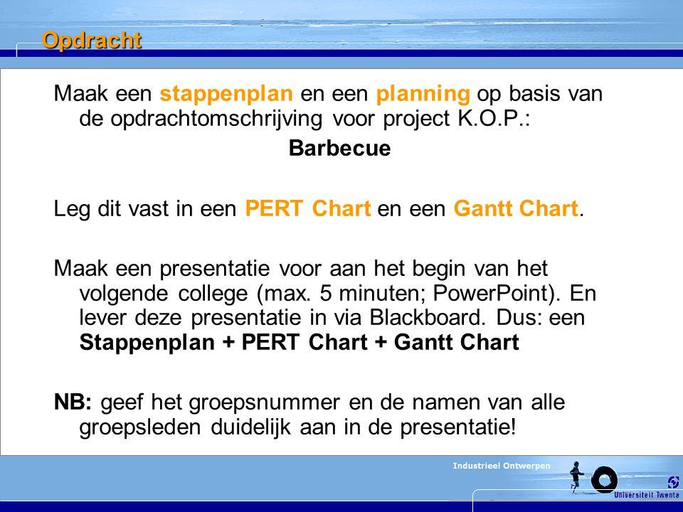 Opdracht Maak een stappenplan en een planning op basis van de opdrachtomschrijving voor project K.O.P.: Barbecue Leg dit vast in een PERT Chart en een