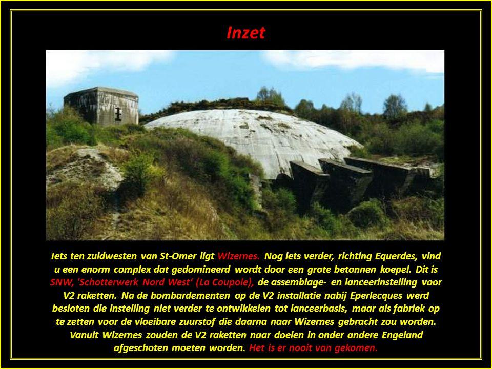 Inzet Voor de lancering van V2's naar Engeland vanuit vaste lanceerplaatsen werden in 1943 en 1944 in Noord-Frankrijk enorme bunkers gebouwd. Hiervoor
