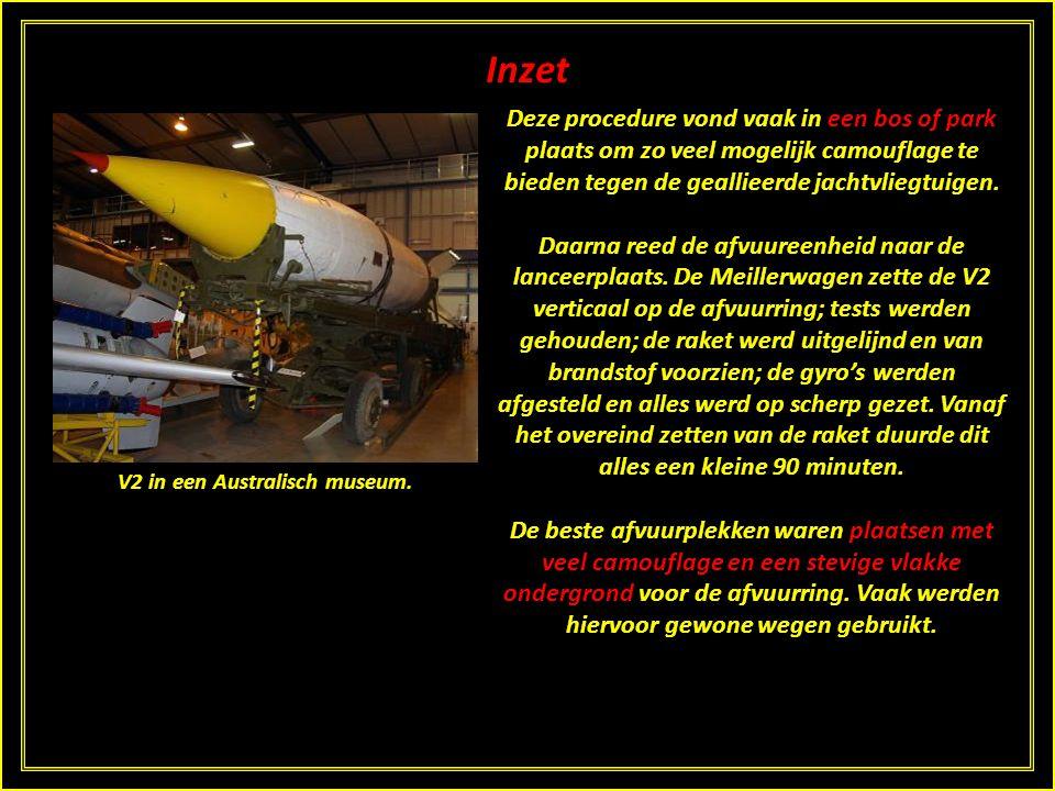 Inzet De raketten zelf werden met de brandstoffen over het spoor op bepaalde punten afgeleverd. De springladingen kwamen per vrachtwagen. Speciaal tra