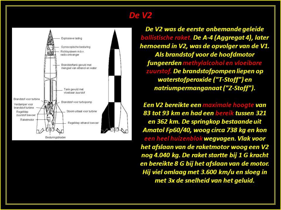 De V2 De V2 was de eerste onbemande geleide ballistische raket.