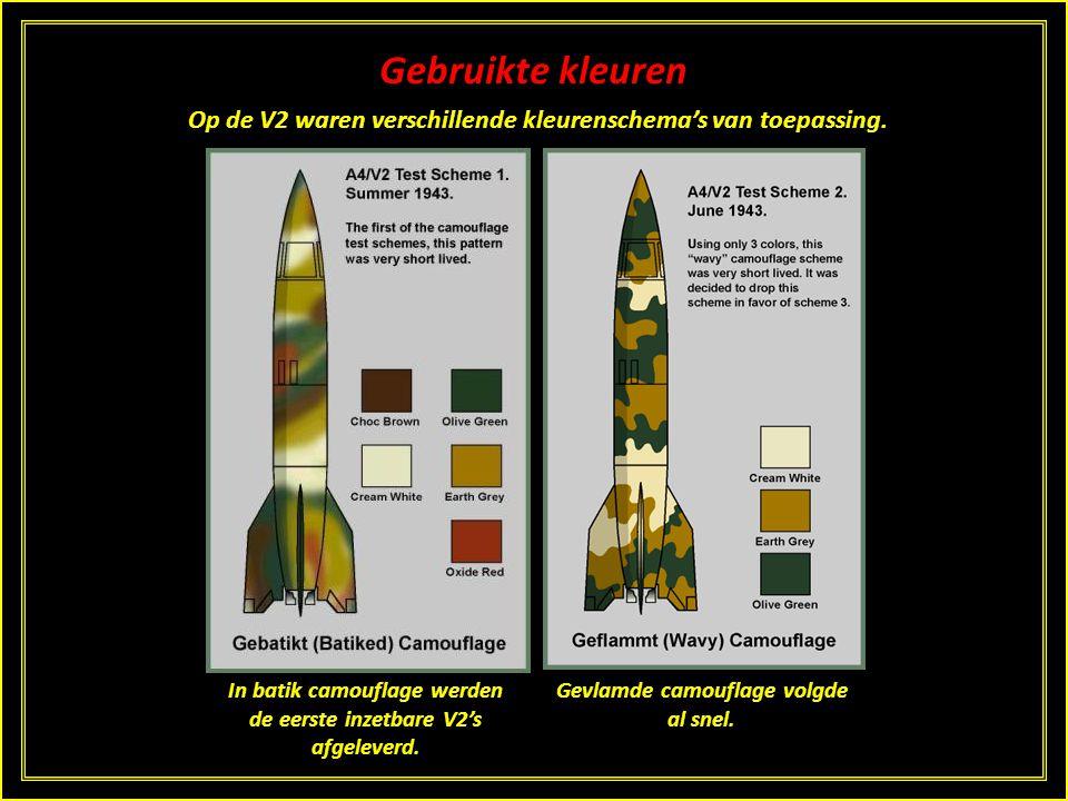 Gebruikte kleuren Op de V2 waren verschillende kleurenschema's van toepassing. Dit zwartwitte patroon werd in de eerste tests gebruikt. Gevolgd door d