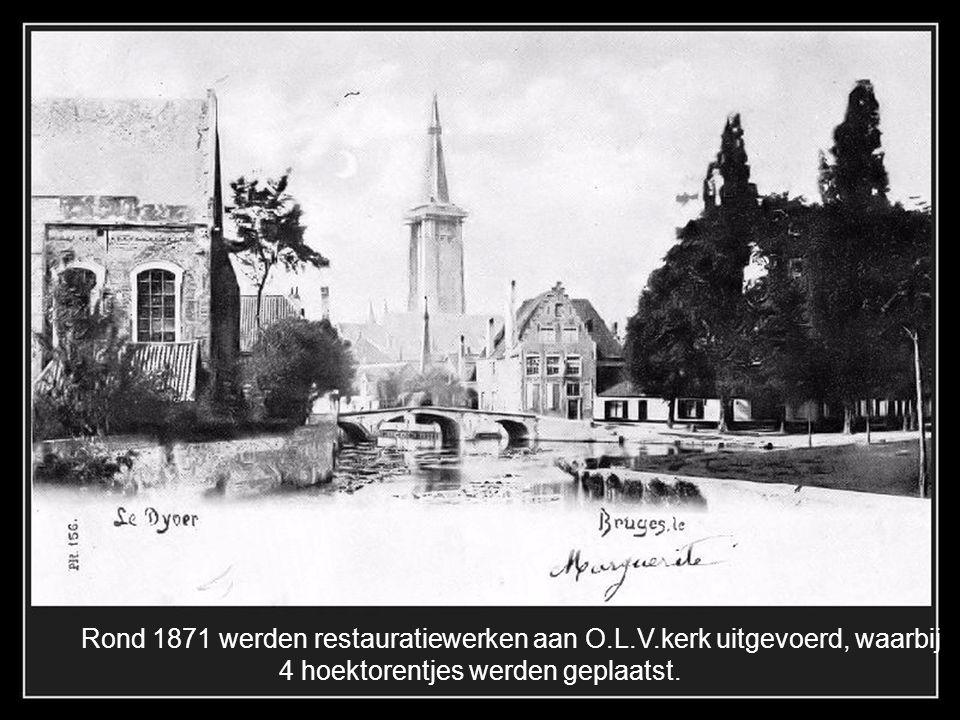 De Boeveriestraat 1897, op achtergrond St. Juliaangesticht, nu vakschool recht het typische melkvrouwtje.