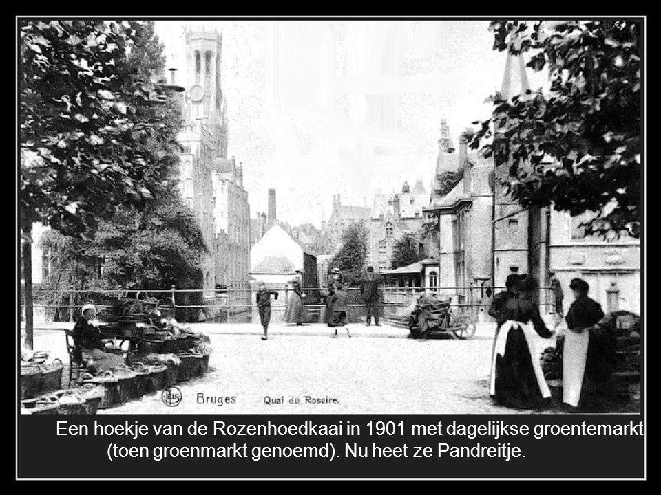 Het Burgplein in 1896, de proosdij rechts, alle huizen er naast in de Breidelstraat werden gesloopt in 1903.