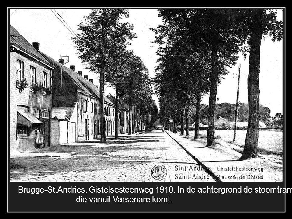 Brugge-Lissewege 1905, de statiestraat met op de achtergrond de kerk.