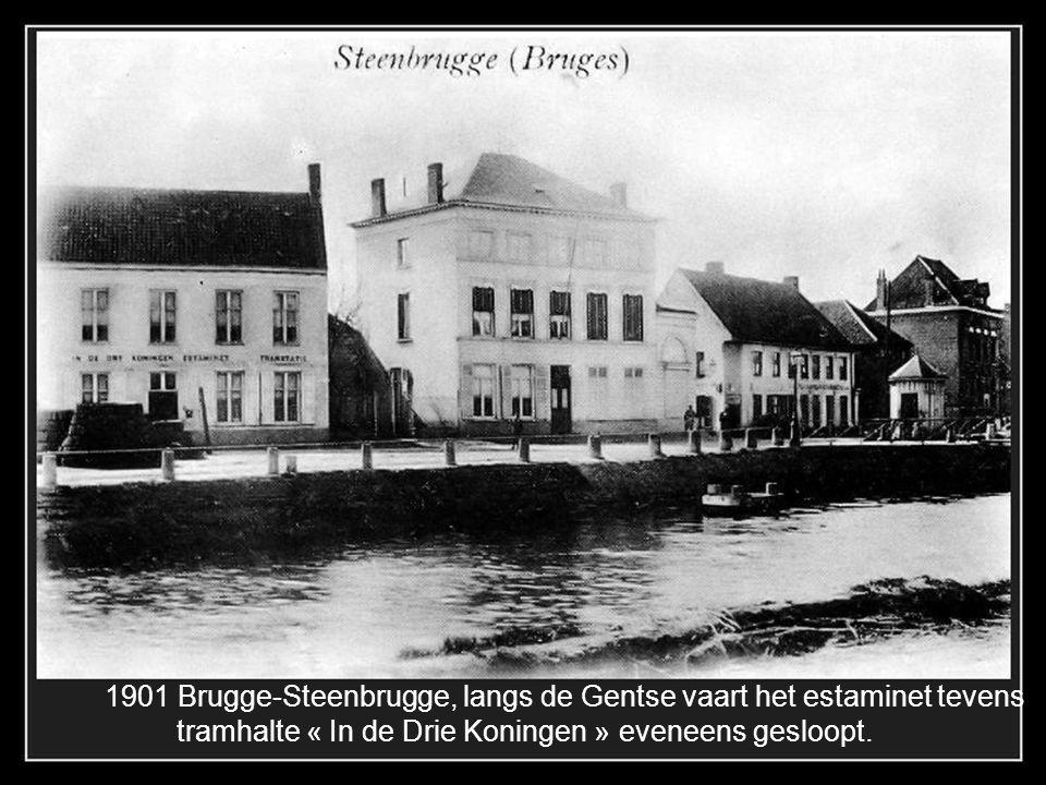 Brugge-St.Andries, Gistelsesteenweg 1910. In de achtergrond de stoomtram die vanuit Varsenare komt.