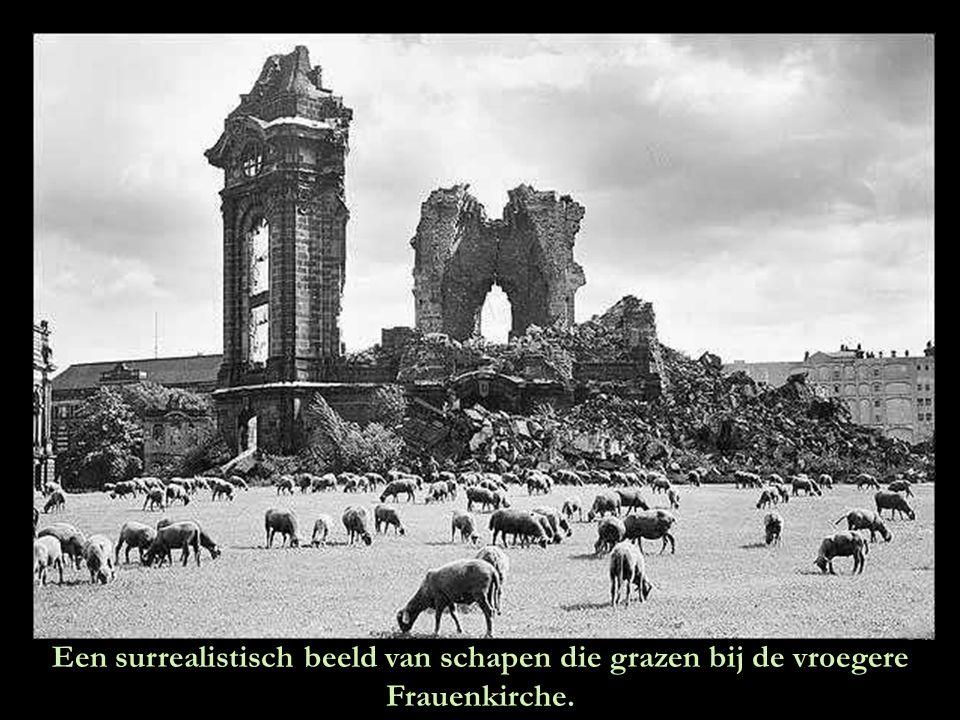 Het puin van de vernielde Frauenkirche wordt opgeruimd.