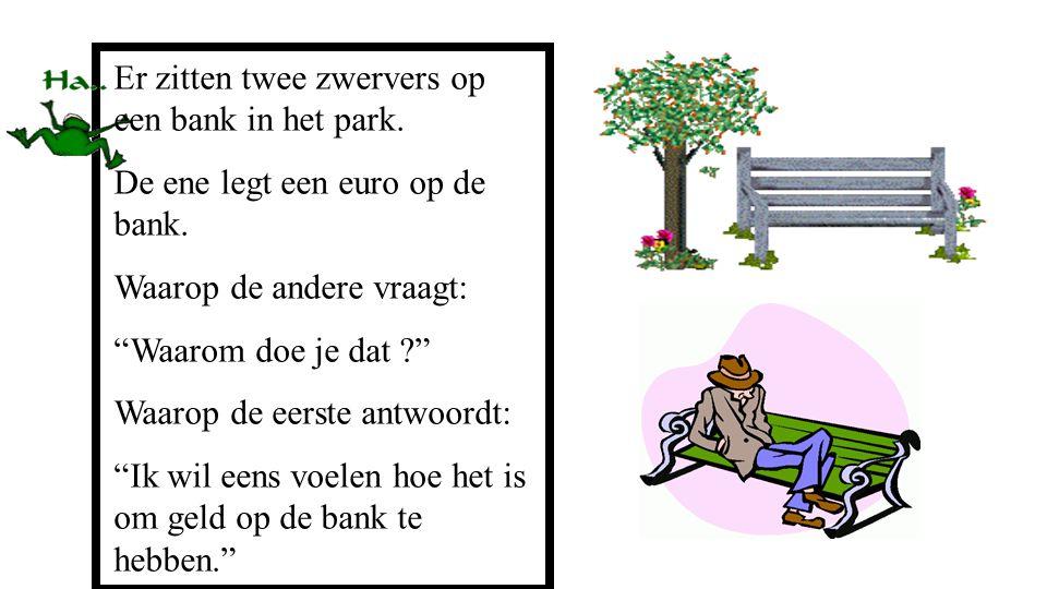 """Er zitten twee zwervers op een bank in het park. De ene legt een euro op de bank. Waarop de andere vraagt: """"Waarom doe je dat ?"""" Waarop de eerste antw"""