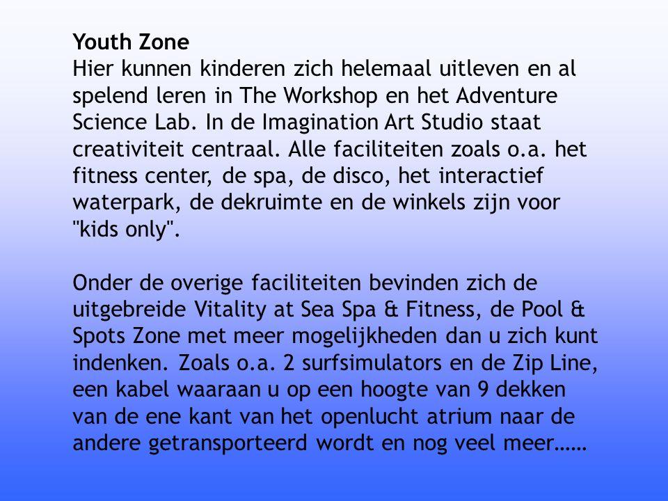 Youth Zone Hier kunnen kinderen zich helemaal uitleven en al spelend leren in The Workshop en het Adventure Science Lab. In de Imagination Art Studio