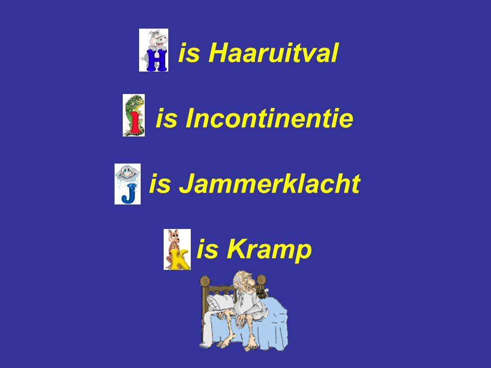 is Haaruitval is Incontinentie is Jammerklacht is Kramp