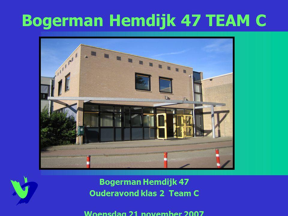 Bogerman Hemdijk 47 Ouderavond klas 2 Team C Woensdag 21 november 2007 Bogerman Hemdijk 47 TEAM C