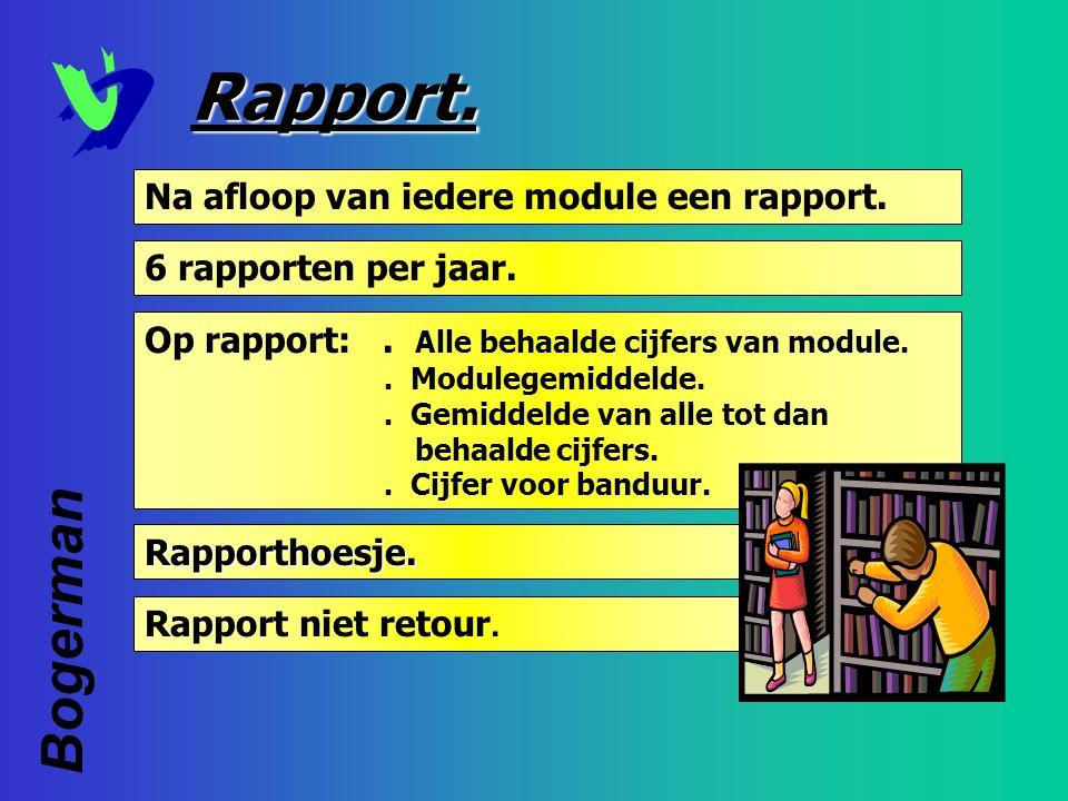 Rapport. 6 rapporten per jaar. Rapporthoesje. Rapporthoesje. Op rapport:. Alle behaalde cijfers van module.. Modulegemiddelde.. Gemiddelde van alle to