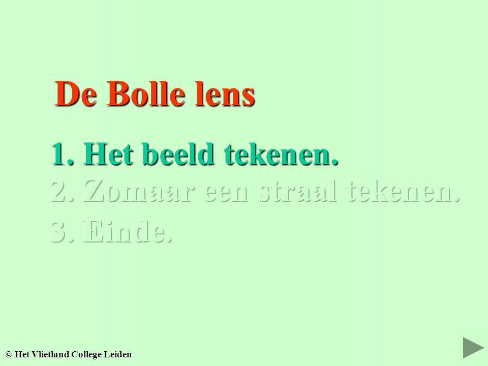 De Bolle lens De Bolle lens 1. Het beeld tekenen. 2. Zomaar een straal tekenen. © Het Vlietland College Leiden 3. Einde.