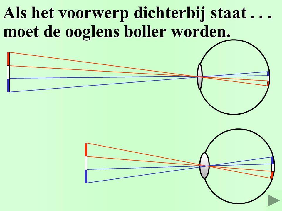 De ooglens maakt een scherp beeld. 1. Elke straal door het midden... 2. a. Het beeld is omgedraaid. c. Van het beeld is ook... c. Van het beeld is ook
