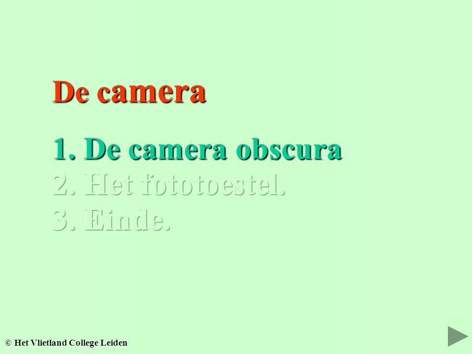 De c amera De c amera 2. Het fototoestel. 2. Het fototoestel. © Het Vlietland College Leiden 3. Einde. 3. Einde.
