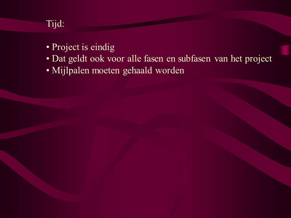 Tijd: Project is eindig Dat geldt ook voor alle fasen en subfasen van het project Mijlpalen moeten gehaald worden