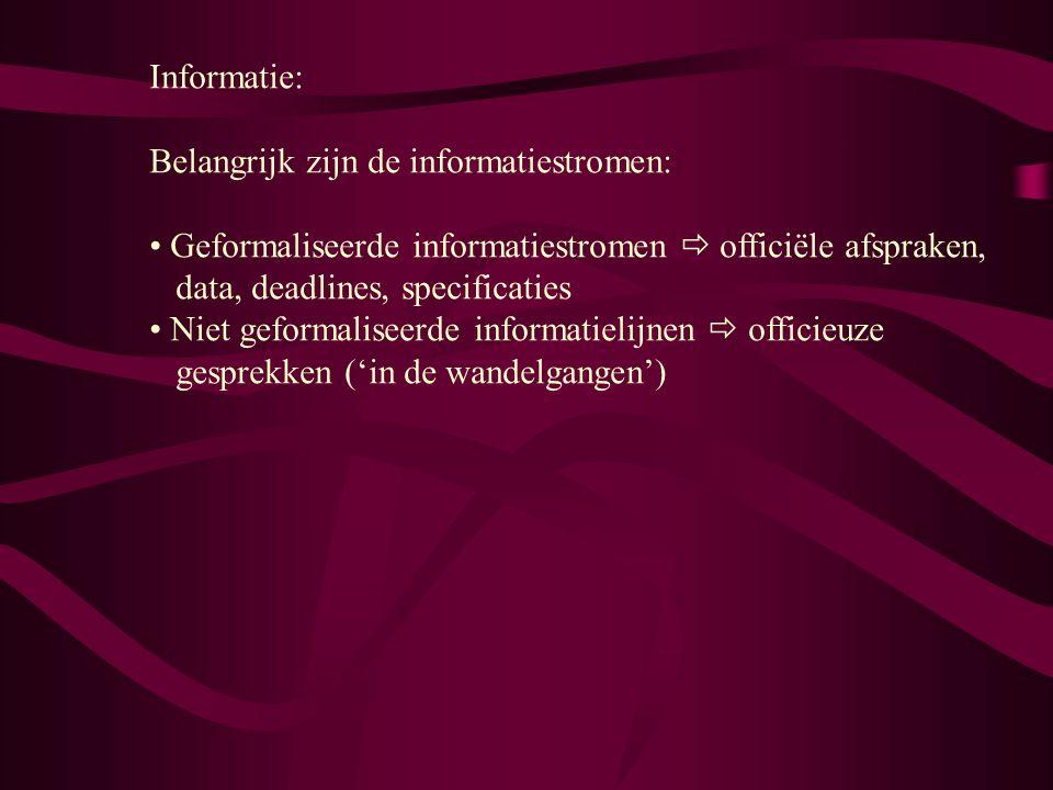 Informatie: Belangrijk zijn de informatiestromen: Geformaliseerde informatiestromen  officiële afspraken, data, deadlines, specificaties Niet geformaliseerde informatielijnen  officieuze gesprekken ('in de wandelgangen')