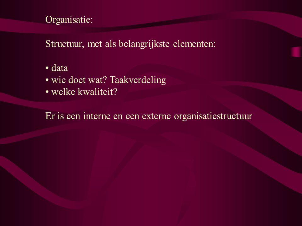 Organisatie: Structuur, met als belangrijkste elementen: data wie doet wat? Taakverdeling welke kwaliteit? Er is een interne en een externe organisati