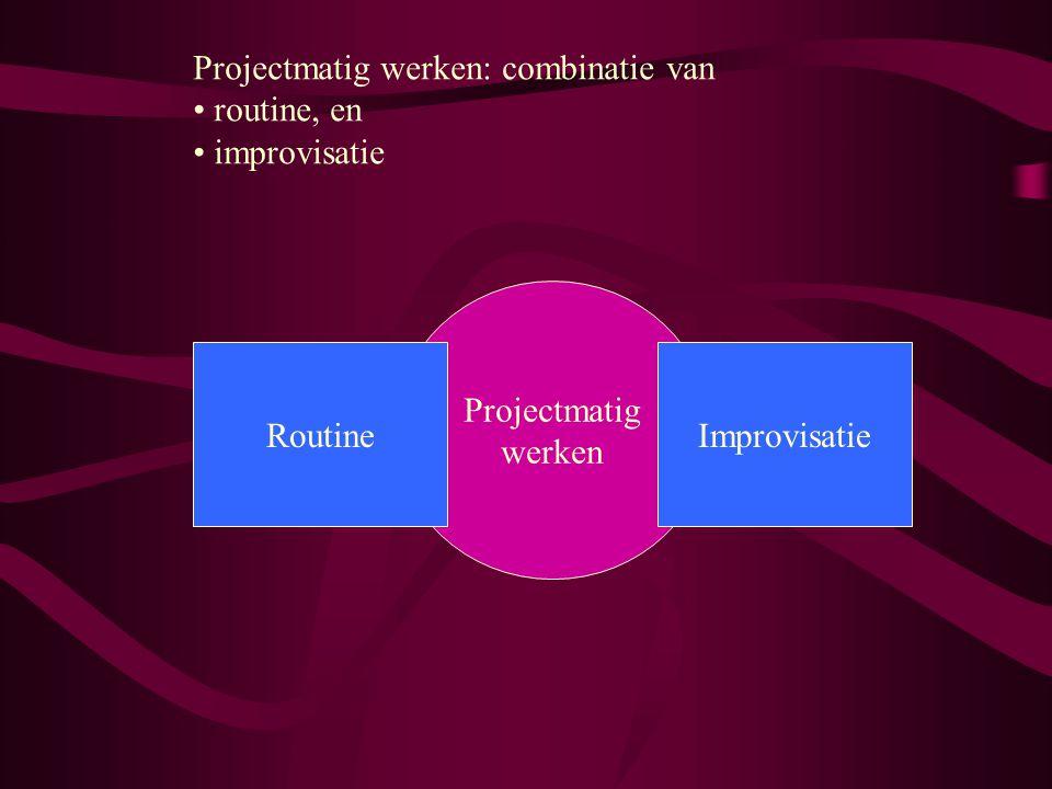 Projectmatig werken: combinatie van routine, en improvisatie Projectmatig werken ImprovisatieRoutine