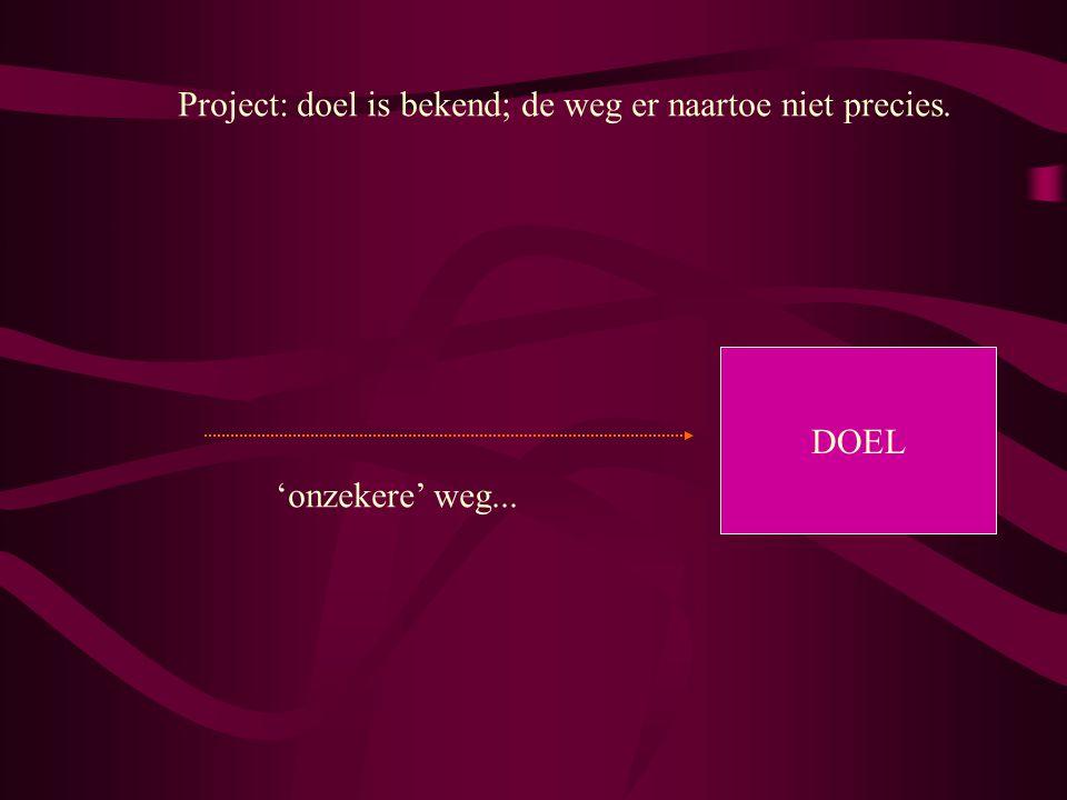 Project: doel is bekend; de weg er naartoe niet precies. DOEL 'onzekere' weg...