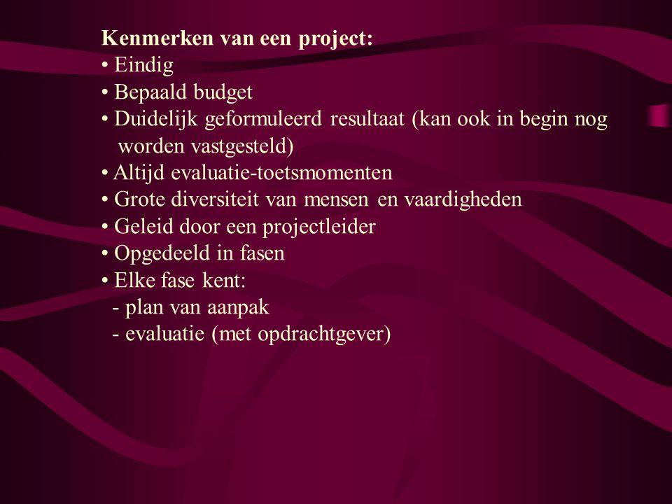 Kenmerken van een project: Eindig Bepaald budget Duidelijk geformuleerd resultaat (kan ook in begin nog worden vastgesteld) Altijd evaluatie-toetsmome