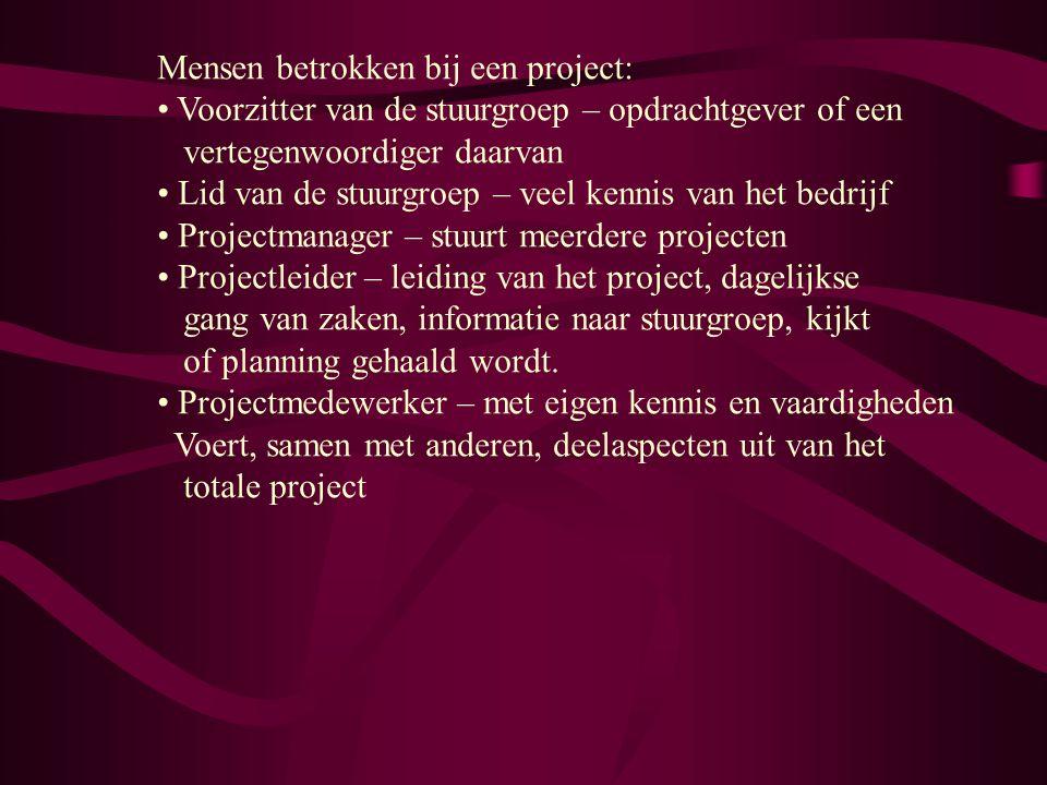 Mensen betrokken bij een project: Voorzitter van de stuurgroep – opdrachtgever of een vertegenwoordiger daarvan Lid van de stuurgroep – veel kennis va